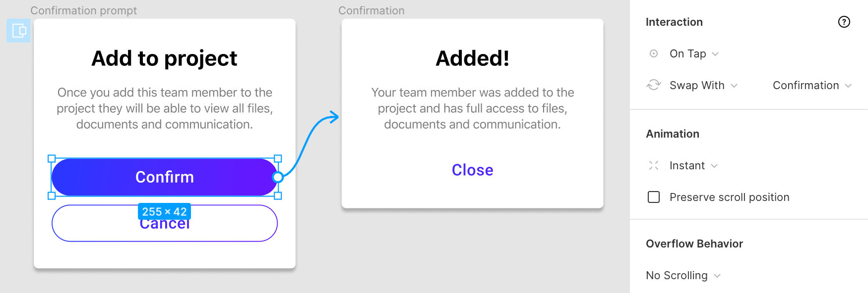 On tap animation for closing the modal